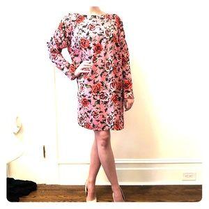 ASOS Floral Print Puff Sleeve Shift Dress Midi